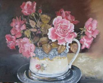 """Roses in an Antique Teapot"""