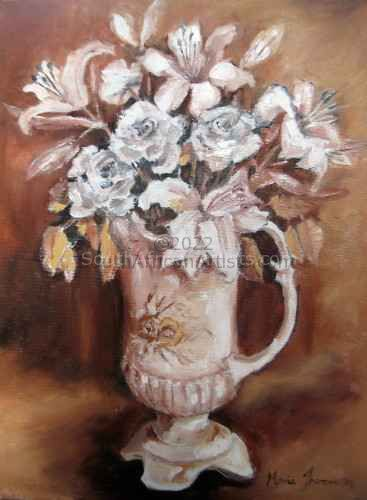 """Roses and Lilies, a Study in Sepia Tones"""