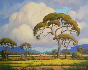"""Bushveld with Thunder Clouds (Pierneef Style)"""