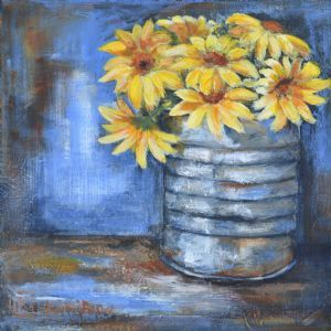 """Old Tin with Daisies"""