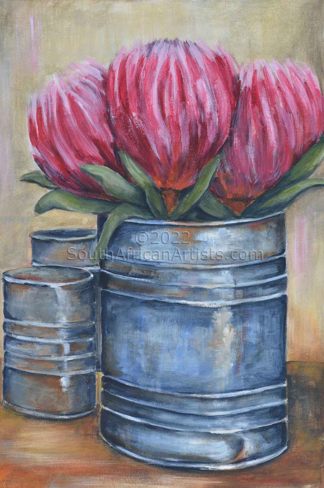 """Tin With Pink Proteas"""