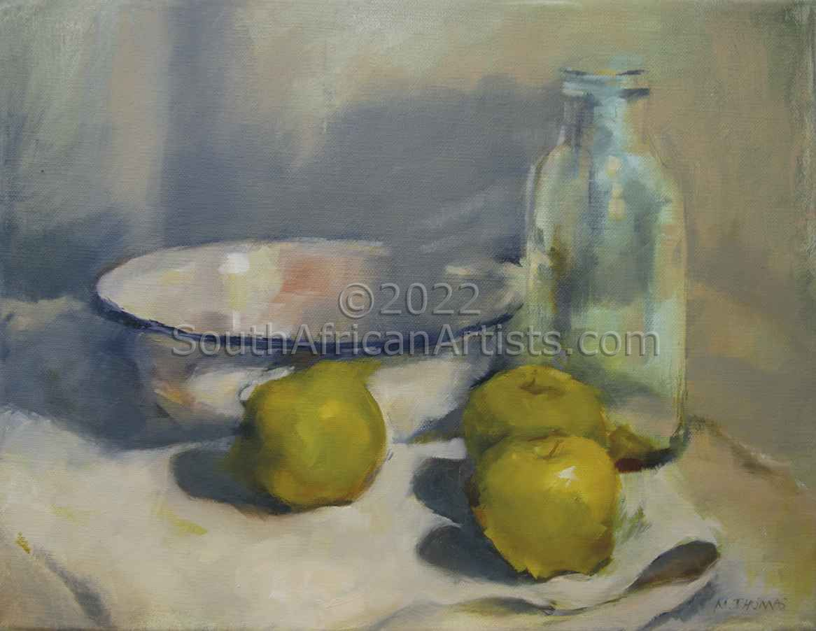 """Enamel Bowl and Apples"""
