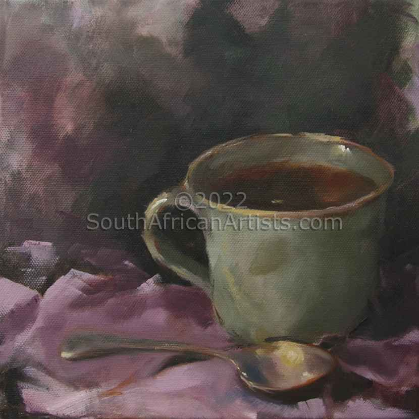 """Green Teacup on Pink Cloth"""