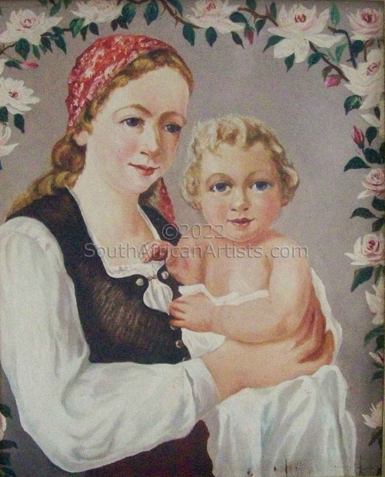 """Mutter Child and Roses"""