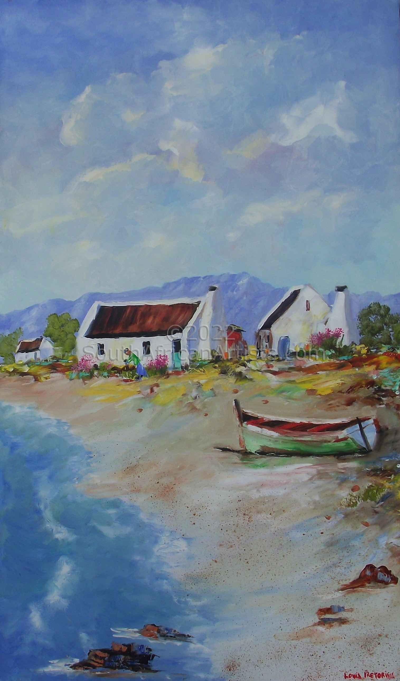 """Fisherman's Cottages with Green Boat"""