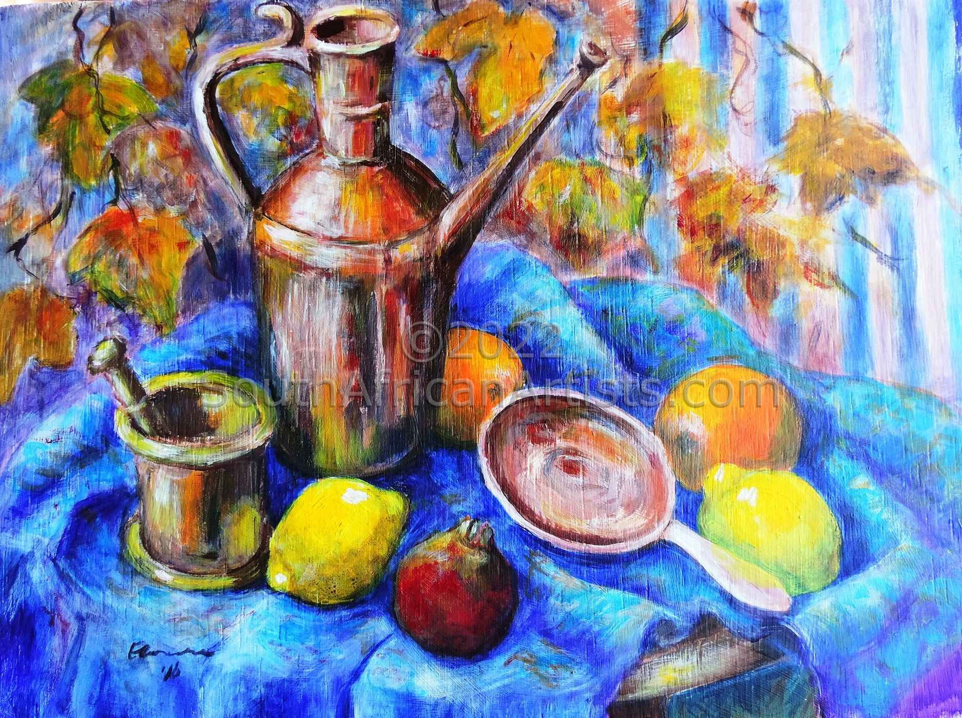 """Still Life with Antique Copperware and Fruit"""