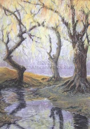 """Willows by a Stream"""