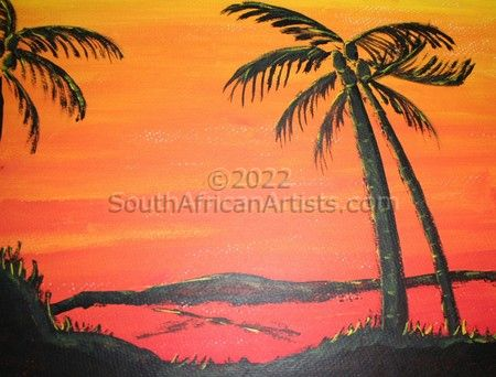 """Sunset with palm trees"""