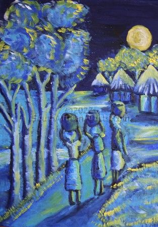 """African village blue and yellow"""
