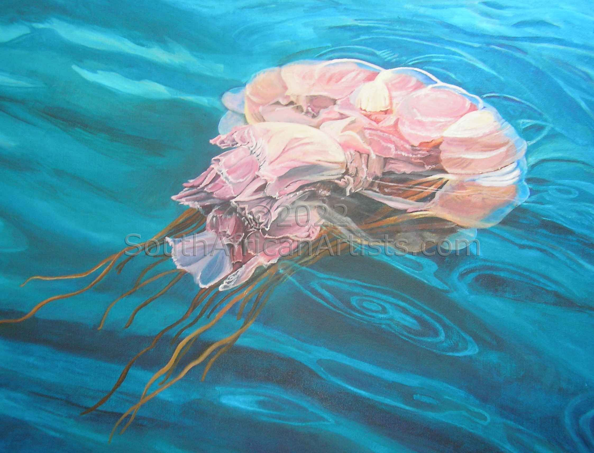 """Pink Organza in Blue (Jellyfish)"""