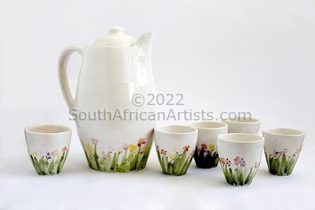 """Poppies (jug and 6 tumblers)"""