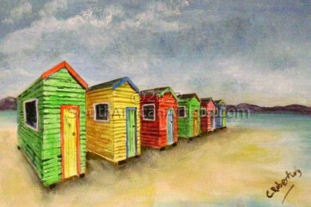 """Beach Huts on the Sand"""