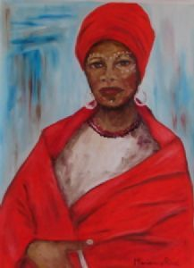 """Xhosa Woman in Red 2"""