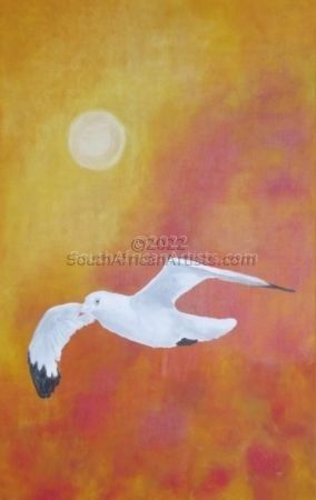 """Seagull at Sunset"""