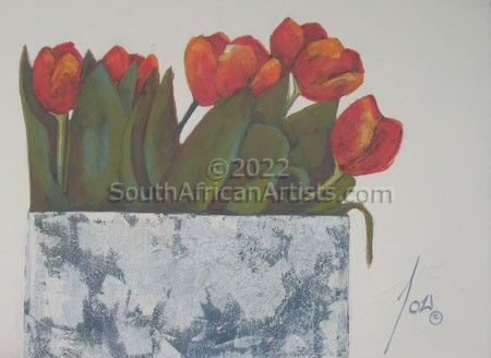 """Red Tulips on Plain Background"""
