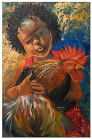 """Black Girl With Rooster"""